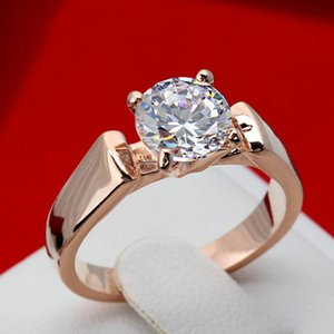 Elegant Classical Rose Gold Color Design Rings For Women Luxury Crystal Zircon Jewelry Gift Wedding Beautiful Female Cluster
