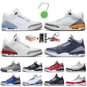Nike Air Jordan 3 Retro 3 3s Stock x 2020 com caixa de Jumpman 3 3s Mens Basketball sapatos de Laser UNC Red Cimento Azul Seul Mens Formadores Sneakers