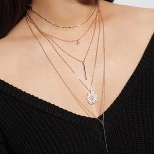 AE-CANFLY Fashion Multi- Suit Combination Necklace Women Geometric Pentagram Sun Flower Pendant Chokers