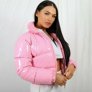 Ladies jacket 10 Color Women Cute Pink Bright PU Puffer Warm Loose Bubble Coat Down Parkas Zipper Stand Collar Puffly Cropped Jackets