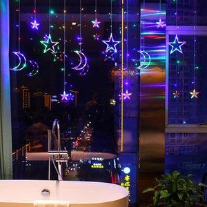 Strings 220V EU Plug Moon Star LED Fairy Curtain Lights Christmas Garlands Waterproof Outdoor Decoration Holiday Festival