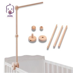Baby Rattles Bracket Set Infant Crib Mobile Bed Bell Bracket Protection Newborn Baby Toys Beech Wood Holder Assembly Accessories 210402