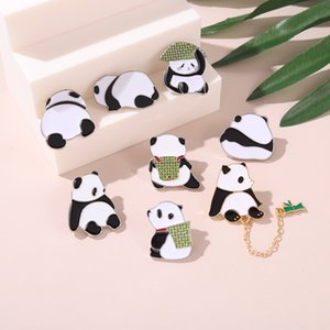 Panda Daily With Bamboo Hat Enamel Cute Cartoon Pins Chinese Bear Brooches Animal Metal Badges Bag Clothes Pin Up Jewelry Gift