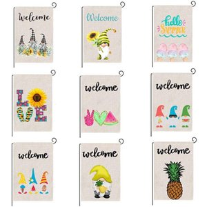 Summer Garden Banner Flags Fruit Gnomes Double Printed Flax Outdoor Decorative Hanging Welcome Season Size 32*47CM