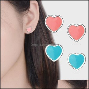 Stud Jewelrystud Chukui Sier Heart Earring Fashion Cute Tiny Blue Enamel Earrings Gift For School Girls Drop Delivery 2021 Qsaou