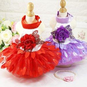Robes pour animaux de compagnie Petit chien et chat princesse robes de mariée robes de luxe floral feuilles de chaton vêtements femmes chiot vêtements costumes
