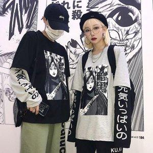 Женская футболка пара Соответствующие футболки печати колледжа школа одежда японские моды манга стиль молодые женщины мужчины летняя одежда носить одежду одежды