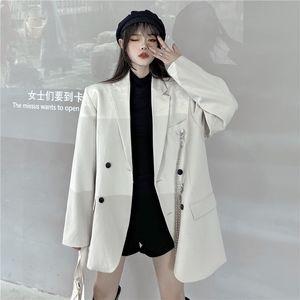 2020 бежевый белый пиджак для женщин весенний осенний пиджак с цепочками одиночные куртки женские дамы негабаритные формальные куртки