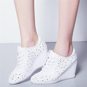 Moda Sneakers Kadınlar Hakiki Deri Takozlar Yüksek Topuk Spor Gladyatör Sandalet Kadın Nefes Yuvarlak Ayak Platformu Pompaları Ayakkabı