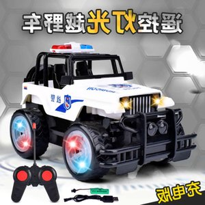 Electric RC CarNet red hot four way off road vehicle lighting music war police car children charging remote control toys