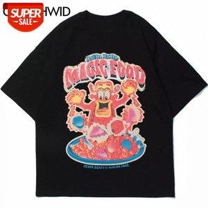 T-shirt Oversized Camisetas Streetwear Hip Hop Saco de Plástico Casual Imprimir T-shirt de Manga Curta T-Shirts Harajuku Moda Tees Tops Party # B69F