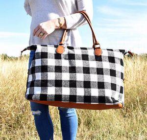 Buffalo Check Handbag Red Black Plaid Large Capacity Travel Tote With Pu Handle Storage Maternity Bags Ooa6384 Djssa Pcto6