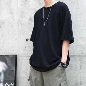 HybSkr Men's Solid Color Short Sleeve T-shirt Classic Korean Streetwear Woman T-shirts 2021 Fashion Tops