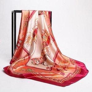 90cm * 90cm square scarf luxury retro carriage printed silk scarf luxury designer brand simulation silk S