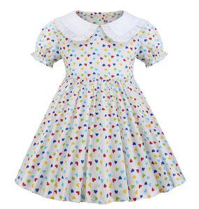 Summer Lapel dress love print girl princess skirt