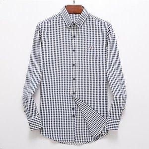 Alta calidad homme gan plaid 100% algodón camisa masculina hombres manga larga vestido camisas hombre chemises casual calle desgaste hombre