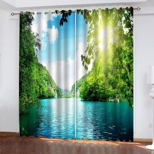 Custom 3D Blackout Curtain Modern Living Room Bedroom Hotel Immortal Scenery Of Landscape And Earth Home Decoration