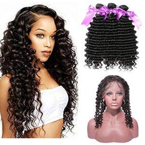 Cheap бразильские волосы девственницы пакеты глубокой волны волосы 360 кружева фронтальные с 3 пучками 100% необработанные наращивания волос для волос девственников