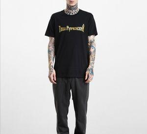 Модная футболка GOSHA RUBCHINSKIY русский алфавит Tee мужчин и женщин пары с коротким рукавом мода буква печати вершины