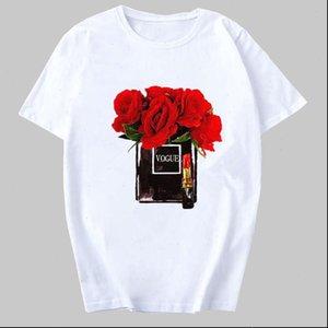 Women T Shirt Clothes Print Flower Perfume Bottle Sweet Short Sleeve Harajuku Female Vogue Top Drop Ship