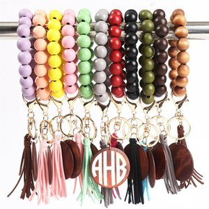 11 colors Wooden Bracelet Keychain with Tassels Keys DIY Wood Fiber Pandent Woodwooden Bead Bangle Key Decorate Fashion LLA656