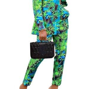 المرأة اثنين من قطعة السراويل الأزهار المطبوعة أنيقة 2 مجموعة المرأة واحدة الصدر السترة و طويل بانت الخريف حزب مكتب مكتب سيدة ملابس مزاج