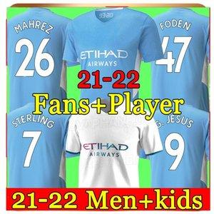 2021 2022 Jersey de football de Manchester 21 22 G. Jesus City Sterling Ferran de Bruyne Kun Chemises de football Aguero Homme Uniformes Hommes + Kids Kit