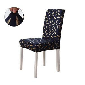 Gold Stamping Feather Chair Cover For Kitchen Banquet Spandex Stretch Dining Room Seat Home Decor Christmas Slipcover D30 Covers