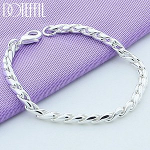 925 Sterling Silver Bracelets Snake Chain Screw Fits European Silver Charms 20CM DIY Fashion Jewelry Women Gift