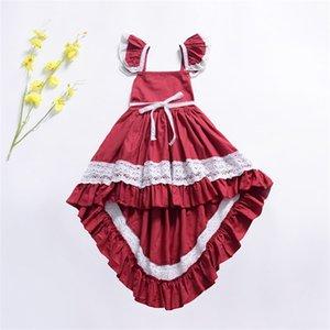 Summer Baby Girls Dresses Kids Ruffle Sleeves Cotton Lace Dress Fashion Girl Clothing 1290 B3