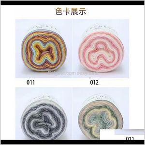 Clothing Fabric Apparel Drop Delivery 2021 2 Ballset Gradient Dyed Cake Handwoven Medium Thick Wool Knitting Yarn Diy Scarf Silk Thread Shawl
