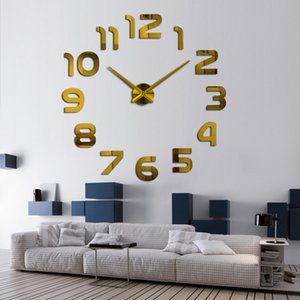 New Design Clock Watch Wall Clocks Horloge 3d Diy Acrylic Mirror Stickers Home Decoration Living Room 1350 V2