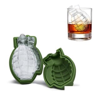 Tools 3D Grenade Shape Cube Mold Creative Ice Maker Party Drinks Sile Trays Molds Kitchen Bar Tool Mens Gift Fucsr Lmek0