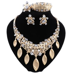 Nigerian African Jewelry Wedding Necklace Earrings Bracelet Ring Brides Crystal Dubai Gold Jewellery Sets for Women Engagement Party