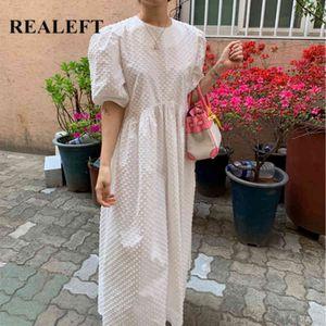 Maxi платья для женщин элегантный корейский стиль длинные белые дамы повседневная свободная летняя женщина 210428