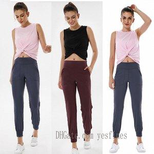 newest womens pants yoga leggings workout high waist gym align lu lulu pocket two side running sport pant high-quality 0202 18a5#