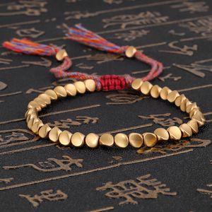 Handmade Braided Cotton Copper Beads Lucky Rope Bracelet Bangles For Women Men Thread Bracelets