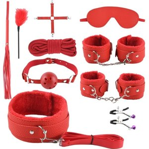 Bondage Toys For Couples Sex Toy Set Plush 10-piece OF SM Women's Breast Clip Handcuffs Props Favourite Sale