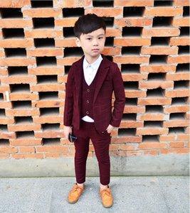 Suits 2021 High Quality 3PCS Kids Plaid Wedding Blazer Suit Brand Flower Boys Formal Tuxedos School Spring Clothing Set