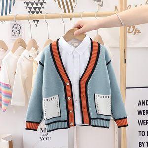 Pullover Baby Girls Sweater Cardigan Spring Autumn V-Neck Jacket Children Clothing Cardigans Kids Coat EY09223