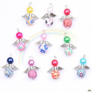 5pcs pack Mixed Angel Wings Pendants Charms Clay Beads for Earring Necklace made DIY Jewelry Making Crafts Kids Birthday gift Set