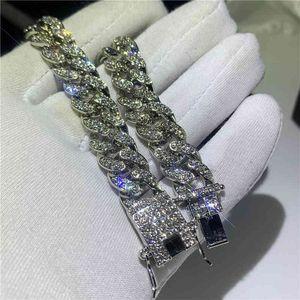 Vecalon Mens Fashion Iced Out Fashion Bracelets High Quality Gold Cuban Link Chain Miami Bracelet Hip Hop Jewelry