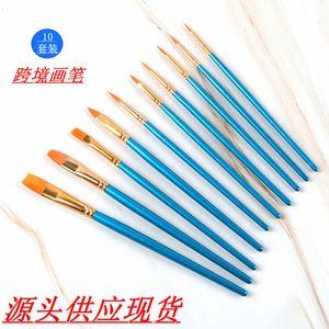 Pens Pens 10 الأزرق النفط Paintbrushes Watercolor Gouache Paintbrush Art Acrylic Paintbrush Set
