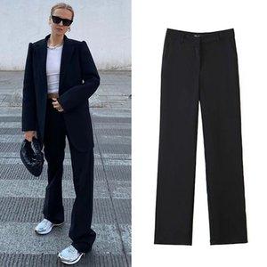 Spring Arrival Women Wide Leg Pants High Waist Black Suit Casual Trousers Streetwear