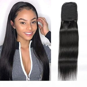 Straight Ponytails 100g piece Brazilian Human Hair Extensions Silky Straight Pony Tail 8-24inch Natural Color