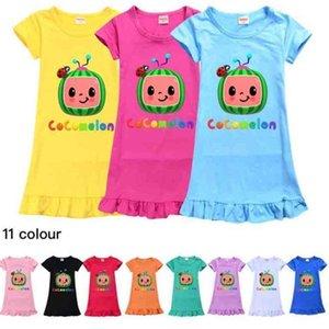 Cocomelon Ji Boys Pattern Cute Girls 'платье дети Multicolor с коротким рукавом ночные конфеты дома платья юбка одежда 110-150см GG494T2G