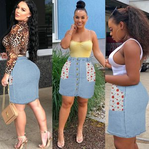 Sexy Denim Skirt for Women Floral Patchwork Denim Package-hip Skirt Fashion Skinny Jean Skirts Hot New Plus Size Skirts