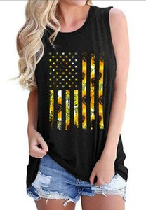 2021 cross-border vest foreign trade flag sunflower sleeveless T-shirt printing Independence Day European and American women vest