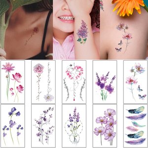 Small Flower Tattoo Sticker Watercolored Temporary Waterproof Design Bloom Feather Lotus Moon Decal for Woman Girl Body Art Tatoo Daily Makeup Gift