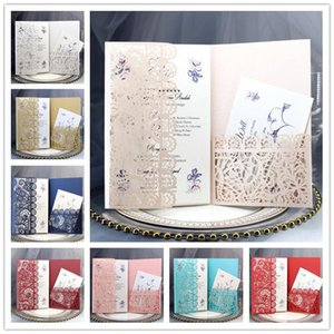 Personalized Wedding Invitation Cards Full Set Laser Cut Hollowed-out Pocket Greeting Cards For Engagement Birthday Party Wedding NHC7611